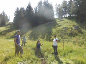 Workshop small group implementing stream restoration techniques in the Valles Caldera National Preserve